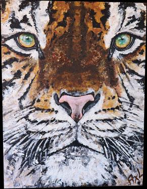 peinture tableau acrylique bois osb tigre gros plan animal savanne