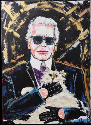 Peinture colorée acrylique portrait karl lagerfeld et chat choupette haute couture