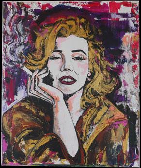 Peinture colorée acrylique portrait Marilyn monroe cigarette actrice blonde célèbre