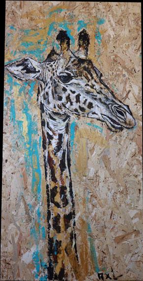 tableau peinture bois osb récup girafe réaliste animal savanne