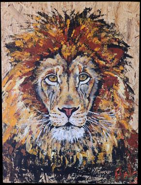peinture tableau sur bois récup chantier lion roi savanne réaliste