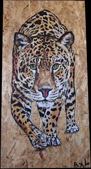 tableau peinture bois osb récup panthère tachetée félin fauve réaliste