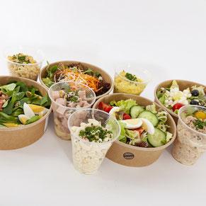 Neu sind unsere frische Salatmenus im 100% biologisch abbaubarem Einweggeschirr erhältlich.