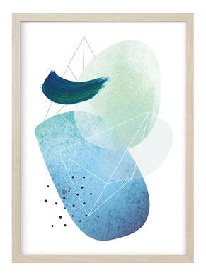 Kunstdruck, Poster, Poster Mond, Poster Mondphasen, Poster Abstrakt Mond, Geschenk Mond, Bild Mond