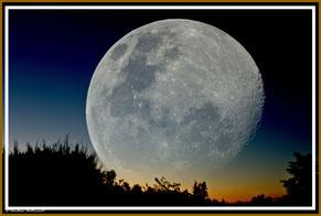 Double exposition, Lune, Ciel, coucher de Lune, soir