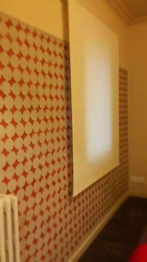 Pintura mural estarcido dormitorio. Pintors Barcelona pintores