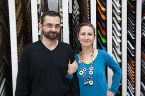 Stephan und Verena Langheinz in der Kunsthandlung Langheinz Darmstadt