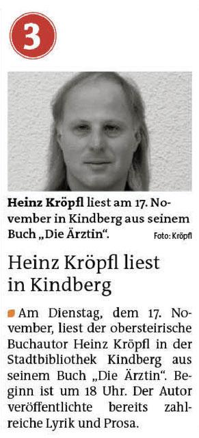 Heinz Kröpfl Lesung Buchpräsentation Die Ärztin Stadtbibliothek Kindberg Stadtbücherei