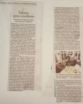Artikel über die 7. Offene Bühne in der Süddeutschen Zeitung