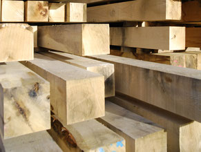 Fresh sawn oak beams, french oak beams, french oak sawmill
