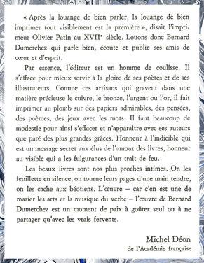 Bibliophilie Editions Bernard Dumerchez Editeur Déon Académie Française
