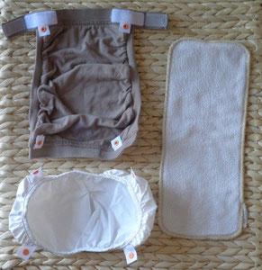 les 3 parties d'une couche lavable TE3: culotte coton, hamac, insert