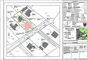 Ein Amtlicher Lageplan.  Hier ist bereits das geplante Haus mit seinen Abstandsflächen eingetragen.