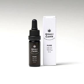 Reinextrakt CBD Öl Pure Fläschchen und Box der Marke Qualicann