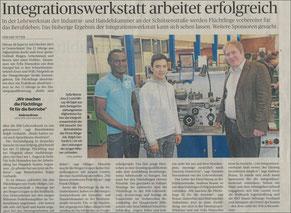 "Zeitungsbericht zum Thema ""Integrationswerkstatt"""