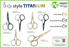 Abbildung aller Scheren Inox style n4 TITANIUM