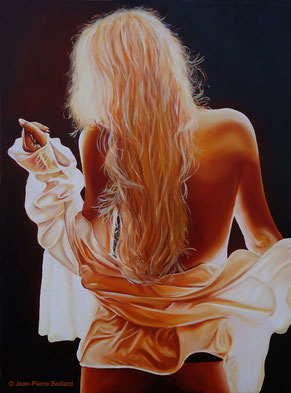 Peinture sur toile huile 80x60 - Blonde Dos - Jean-Pierre Beillard