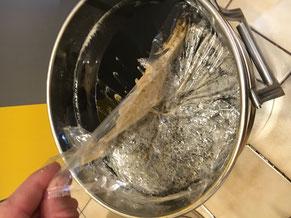 Honig mit Schaum, Folie wird abgezogen