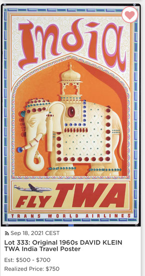 TWA - India - Original vintage airline poster by David Klein