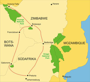 Zugreise mit dem Rovos Rail von Pretoria bis zu den Viktoria Wasserfällen