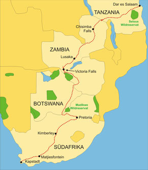 Zugreise mit dem Rovos Rail von Kapstadt bis zu den Viktoriafällen