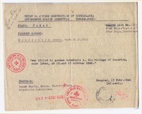 Bescheinigung der Ermordung René Mondscheins durch die Union of Jewish Communities of Yougoslavia aus dem Jahr 1946 für Renés Schwester Martha Bauer, die zu dieser Zeit in der Dominikanischen Republik lebte.