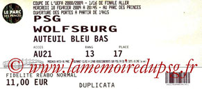 Ticket  PSG-Wolfsburg  2008-09