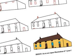 Image d'aperçu du tutoriel pour apprendre à dessiner une maison de type longère