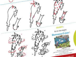 Image d'aperçu du tutoriel pour apprendre à dessiner les poissons Faribole et Mistigri