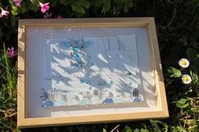 Tableau de l'illustratrice Cloé Perrotin au camaïeu de bleus en papiers découpés en relief façon théâtre