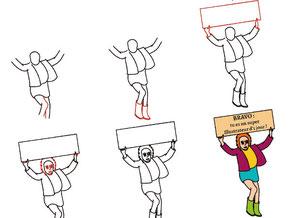 Image d'aperçu du tutoriel pour apprendre à dessiner une femme à la pancarte