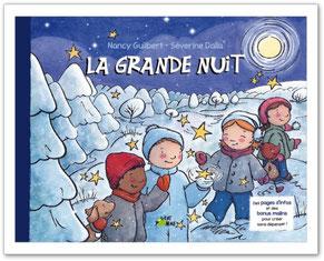 Couverture de l'album jeunesse La grande nuit  paru chez Vert Pomme Éditions  sur le BLOG : la Bulle Ludique Originale Gratuite