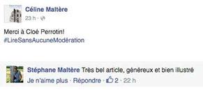 L'auteur Céline Maltère et Stéphane Maltère remercient Cloé Perrotin sur leur page Facebook pour son article rétrospective de la 6ème Caravane Littéraire de l'association Pré-Textes en 2016