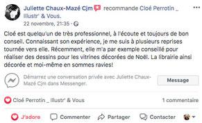 Avis de Juliette Chaux Mazé sur la page Facebook pro de Cloé Perrotin
