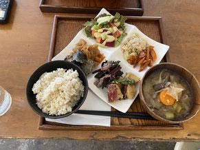 お盆に乗せたれたお惣菜と数種とご飯、お味噌汁