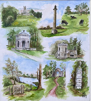 By Heather Teather IMAGES AROUND CIRENCESTER PARK.  During the first lockdown we wandered around Cirencester Park very regularly and I was able to turn my sketches into this montage using pen and watercolours.