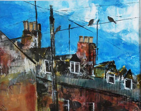 By Heather Teather 'Rooftops' Acrylic and collage