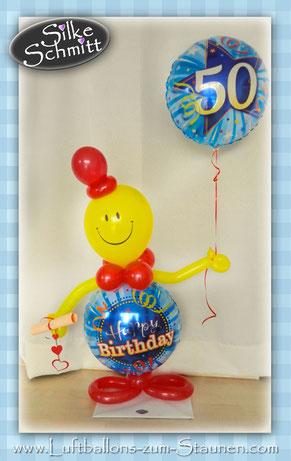 Luftballon Ballon Heliumballon Folienballon schwebt Männchen Smiley Happy Birthday Geburtstag 30 40 50 60 Überraschung Mitbringsel Party