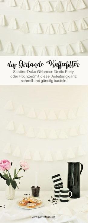 Bild: DIY Deko Girlande für die Party oder Hochzeit aus Kaffeefilter selber basteln - Anleitung für Upcycling Papier Girlanden mit Kaffeefiltern vom Partystyling Blog Partystories.de // #diydeko #Kaffee #Girlande #partydeko #hochzeitsdekoration #Upcycling