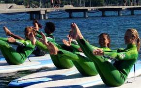 Magövningar på surfbräda