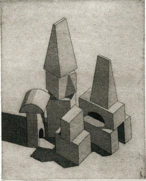pagina con opera originale di Nando Crippa - 70x55 mm