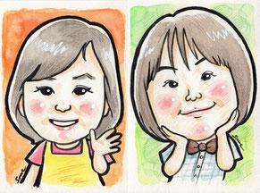 手描きのカラー似顔絵 男の子 女の子