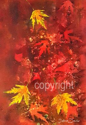 Herbst fallende rote und gelbe Blätter