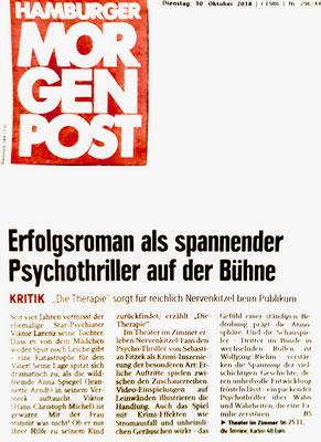 Theater im Zimmer feat. Sebastian Fitzek - Presseartikel in der Hamburger Morgenpost