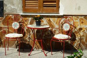 Stuhl, Tisch, Blumen, Sitzen, ausruhen, Italien, Dolce vita