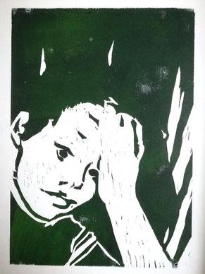 Dietmar Bous, Kunst, Druck, Radierungen, Oldenburg, Künstler, Holzschnitt, Junge
