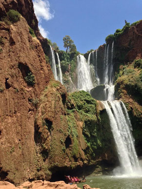 The Ouzoud waterfalls are located near the Moyen Atlas village of Tanaghmeilt, in the province of Azilal, 150 km northeast of Marrakech