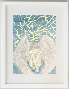CREPE DELL'ANIMA, 2020, Acquerello, matita, lamina metallica, 20 x 30