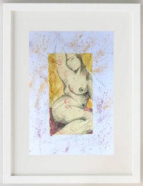 """""""Venere - Dea Madre 1"""", 2020, Acquerello e pastelli su carta, 20 x 30"""