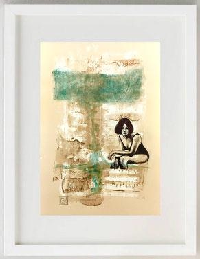 """""""Attesa 1"""", Acquerello, acrilico, china, biro, garza, 20 x 30"""